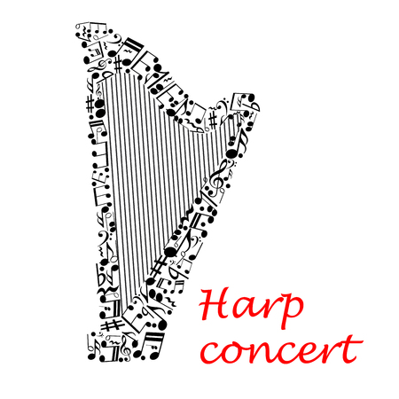 entertainment event: Harp music concert poster with silhouette of classic harp made up of strings and musical notes, treble and bass clef, rest, key signature. Musical entertainment event or contest design