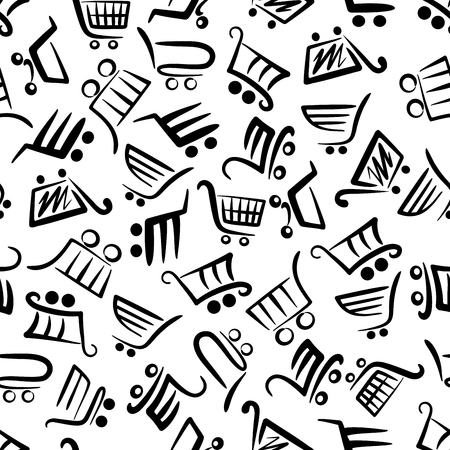 retail sales: Black and white pattern of shopping carts for season of sales and retail themes design with seamless background of supermarket trolleys symbols in flowing lines