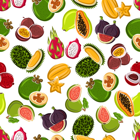 Bright cartoon exotic fruits background for kitchen interior or food packaging design usage with seamless pattern of carambola, lychee, passion fruits and feijoa, papaya, figs, dragon fruits, guavas and sweet durians fruits Illustration