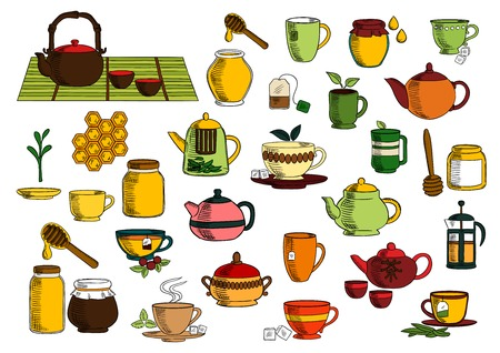 chinese tea: Tea beverages sketches of ceramic and glass teapot, chinese tea set, cup and mug with green leaves of tea and mint, sugar, cranberry, tea bag, sugar bowl, jar of honey with dipper and comb Illustration