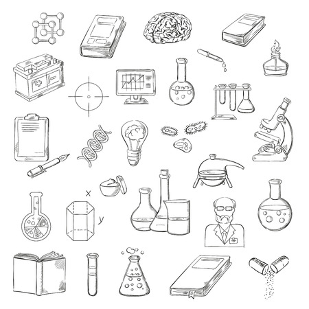 dna test: Scientist with sketch symbols of microscope, laboratory test tubes and flasks, books, computer and clipboard with pen, human brain, DNA and molecules, lab burner, battery and geometric models, idea light bulb and pills