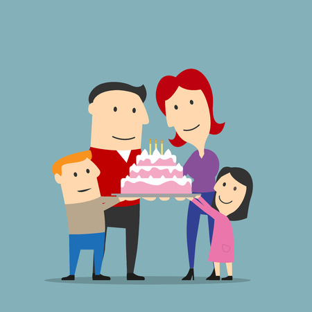 frosting: Birthday or anniversary celebration, family traditions theme design. Happy smiling parents and two kids are holding big cake decorated by buttercream frosting and candles. Cartoon style