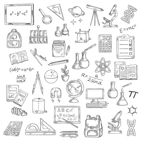School supplies sketches of book, blackboard, pencil, calculator, microscope, laboratory flask, globe, computer, backpack, telescope formula DNA atom planet light bulb compasses ruler Ilustrace