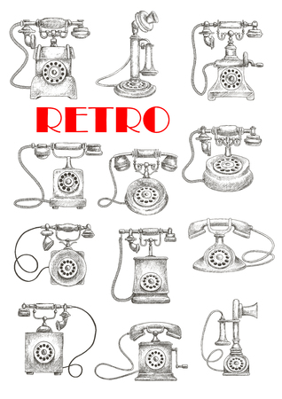 call history: Engraving stylized vintage landline telephones sketches with candlestick and rotary dial table phones. Maybe use as retro interior accessories theme design
