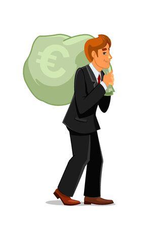 Rijke en succesvolle zakenman draagt een grote geldzak met euro teken. Rijkdom, bankier beroep, financieel succes of bonus thema ontwerp gebruik