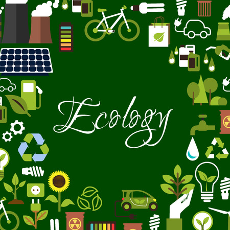 biofuel: Eco background with flat icons of recycling and saving energy light bulbs with green leaves, electric cars, biofuel and bicycles, plant with plug, flower and trees, solar panel, water, radioactive waste and industrial chimneys arranged around text Ecology Illustration