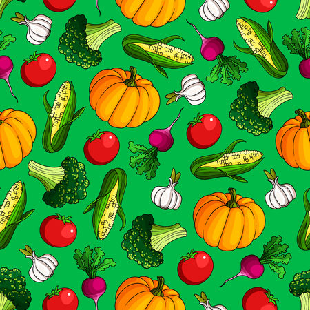 healthful: Ripe vegetables seamless pattern of sweet corn and orange pumpkin, juicy red tomato and radish, healthful green broccoli and garlic on bright green background. Agriculture theme design