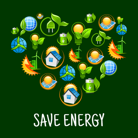 suns: Green energy heart symbol with pattern of light bulbs with leaves, suns, solar panels and wind turbines, green plants with plugs, batteries and earth globes, smart houses and wind energy farms icons