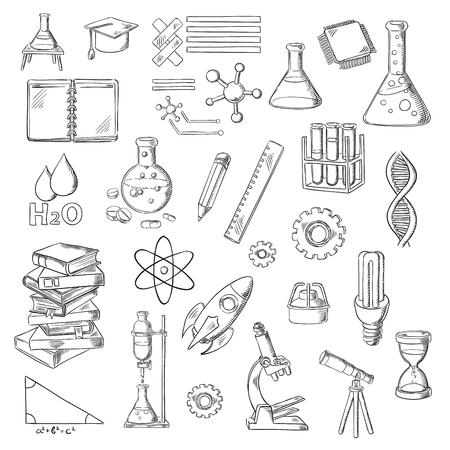 teorema: La ciencia, la educación y experimentos de laboratorio esboza con los libros, frascos de laboratorio y quemadores, microscopio, bloc de notas y reloj de arena, microchip, ADN, átomo y molécula de agua, casquillo de la graduación, bombilla, teorema de Pitágoras, el telescopio y cohetes