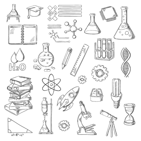 Science, education and laboratory experiments sketches with books, lab flasks and burners, microscope, notebook and hourglass, microchip, DNA, atom and water molecule, graduation cap, light bulb, pythagorean theorem, telescope and rocket