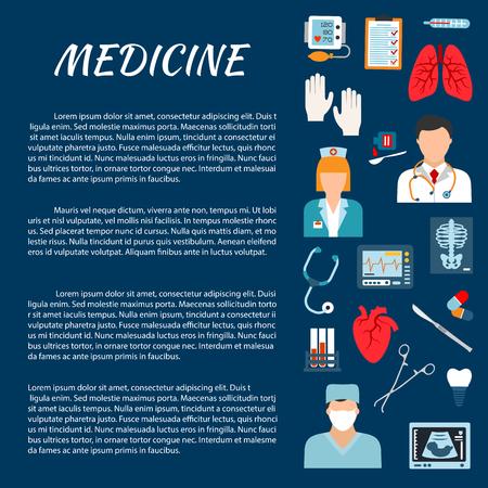 chirurgo: modello di struttura sanitaria con le icone piane del medico, chirurgo, infermiere, stetoscopio, termometro, strumento chirurgico, cuore, polmoni, pillola, provetta, la pressione del sangue, monitor ECG x-ray ecografia