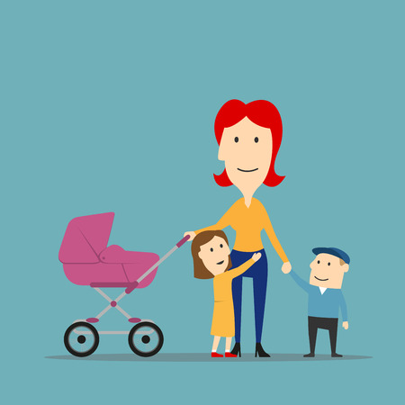 stroll: Happy family on walk. Cartoon cheerful smiling mother of three with children and newborn baby in a carriage walking outdoor
