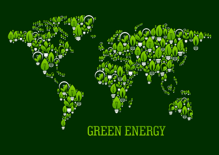 Eco green world map symbol with pattern of various light bulbs with leaves, stems and sprouts. Use as ecological design for green energy, renewable resources and save energy technology concepts Illustration