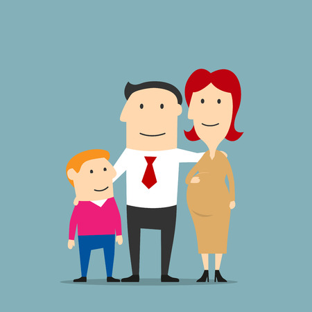 expectant: Happy united family expecting a newborn baby. Proud man hugging his pregnant wife and son. Pregnancy and parenting concept design. Cartoon style Illustration
