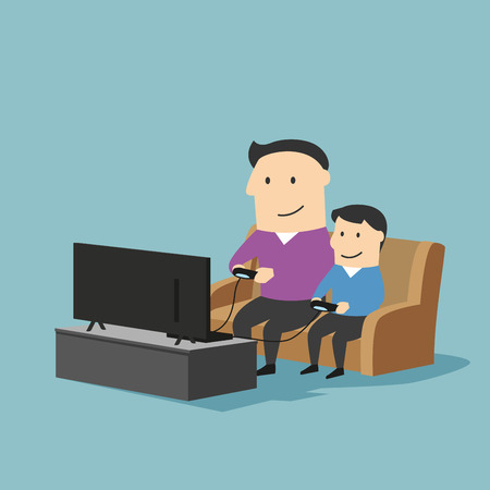 home entertainment: Playful father and son spending time together and playing video games on a game console in living room at home. Great for family time and entertainment concept design. Cartoon style