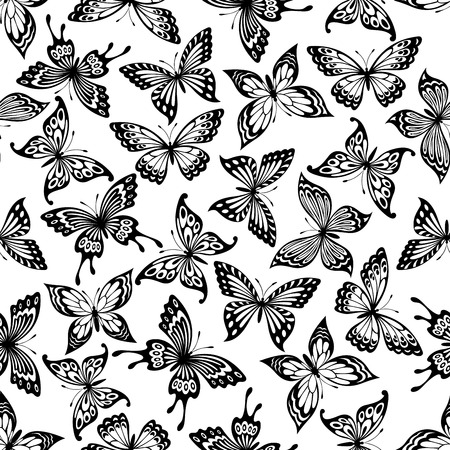 Butterflies seamless pattern with black and white background of monarch, swallowtail and buckeye butterflies with ornamental open wings. Nature concept or interior decoration design
