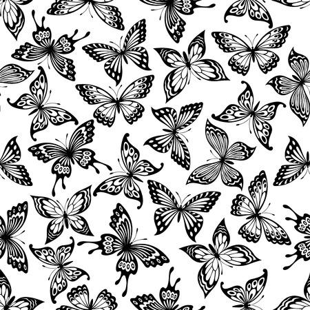 blanco negro: Mariposas patrón transparente con fondo blanco y negro del monarca, cola de golondrina y el castaño de indias mariposas con las alas abiertas ornamentales. Concepto de la naturaleza o de la decoración de interiores de diseño