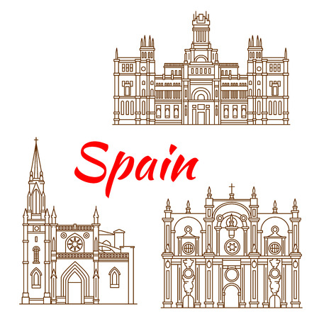 bilbao: Symbolic monuments and architectural heritages of Spain with Cybele Palace in Madrid, Cathedral of St. James in Bilbao and Cathedral of Granada. Spanish travel landmarks thin line icons for travel guide or arts and architecture theme design