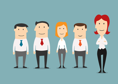 business team: Business team, office staff and partnership theme design. Female boss presents her business team that formed of professional businessmen and businesswoman. Cartoon style