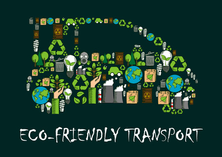 eco car: Car symbol formed of globe, recycling sign, electric car and light bulb with green leaves, radioactive waste, trees and plants, industrial plant and gas mask icons. Eco friendly transport concept Illustration