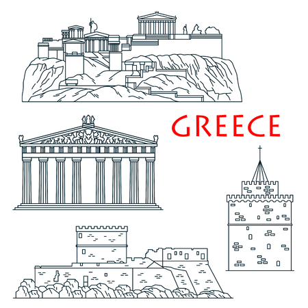 acropolis: Ancient greek travel landmarks thin line icon with citadel Acropolis of Athens, temple of goddess Athena Parthenon, Palace of the Grand Master of the Knights of Rhodes and White Tower of Thessaloniki
