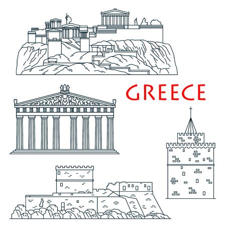 Los antiguos griegos las señales del recorrido icono de línea delgada con ciudadela Acrópolis de Atenas, el templo de la diosa Atenea Partenón, Palacio del Gran Maestre de los Caballeros de Rodas y blanca torre de Tesalónica Ilustración de vector
