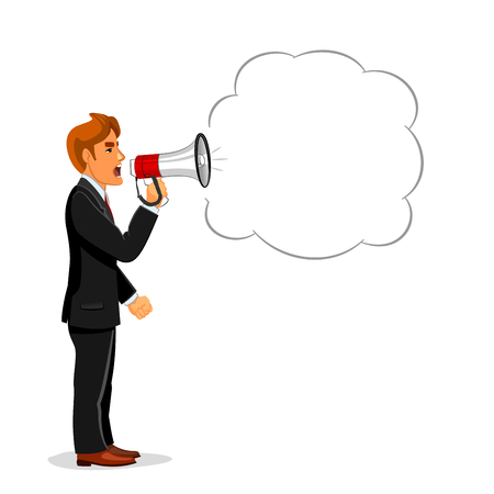 promote: Angry businessman making announcement through loudspeaker megaphone with speech bubble for your text. Use as promotion, advertising campaign or protest demonstration concept design Illustration