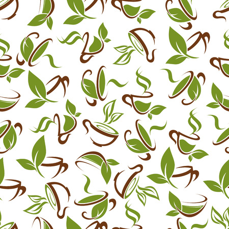 ornated: Fresh green tea beverages pattern with decorative seamless background of brown cups with aroma herbal tea drinks ornated by green leaves and stems. Use as cafe interior or food packaging design Illustration
