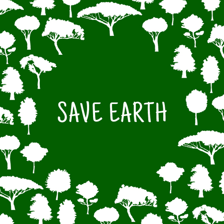 Nature conservation and protection of environment symbol for eco design with white silhouettes of trees formed as a circle with caption Save Nature in the center. Illustration