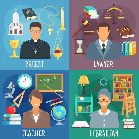 counsel: Teacher, lawyer, librarian and priest professions icons with classroom with school supplies, reading room with bookcases, church with bible and cross, courtroom with scales, law book and gavel