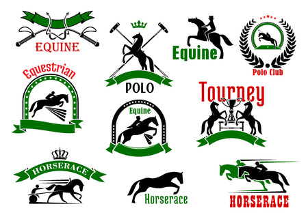 Black silhouettes of horses with riders, cart and polo player, whips, trophy and mallets, bordered by ribbon banners, wreath, starry arches and crowns sporting icons for equestrian tourney, derby, polo club, horcerace and riding club design usage