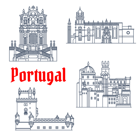 sights: Portuguese architectural landmarks and tourist sights symbol with thin line Hieronymites Monastery and Tower of St Vincent, Pena Palace and Clerigos Church. Travel design