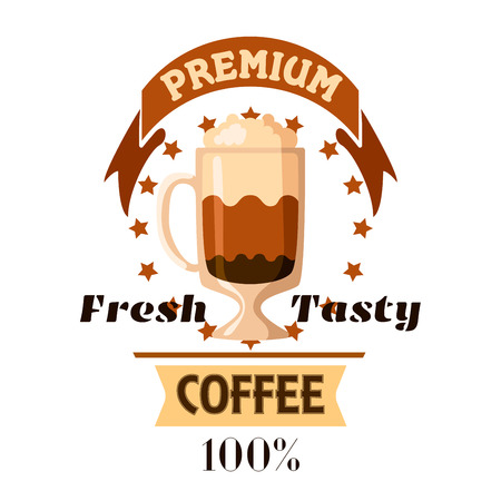 cafe latte: Coffee Cup. Fresh tasty cappuccino and latte icon for cafe label, cafeteria signboard, fast food menu, coffee shop emblem Illustration