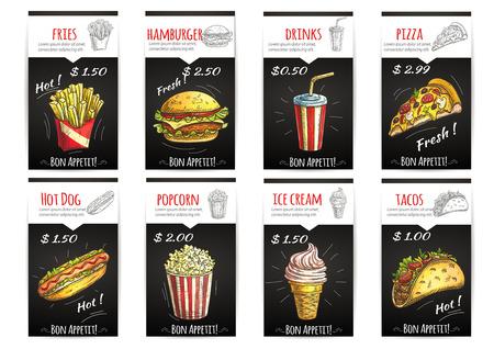 Fast cartel menú de comida con la descripción y la etiqueta de precio. Elementos aislados de iconos de dibujo de papas fritas, hamburguesas, bebidas, pizza, hot dog, palomitas de maíz, helados, tacos Ilustración de vector