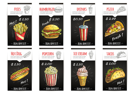 hot dog label: Fast food menu poster with description and price label. Isolated sketch icons elements of fries, hamburger, drinks, pizza, hot dog, popcorn, ice cream, tacos Illustration