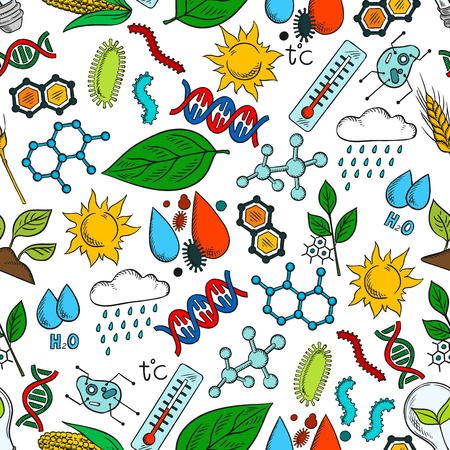 ecosystems: Nature ecosystem and natural phenomena seamless background. Wallpaper with vector pattern icons of organic elements wind, rain, dna, cell, bacteria, microbe, microorganism, molecule, plant, sun, water thermometer