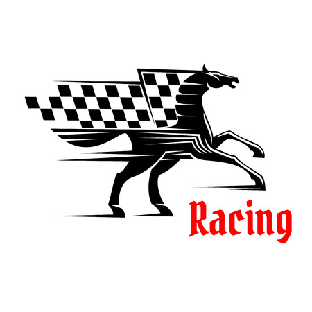 checkered label: Horse race icon with racing checkered flag. Mustang running graphic element. Vector design for sport club emblem, bookmaker signboard, team shield, badge, label