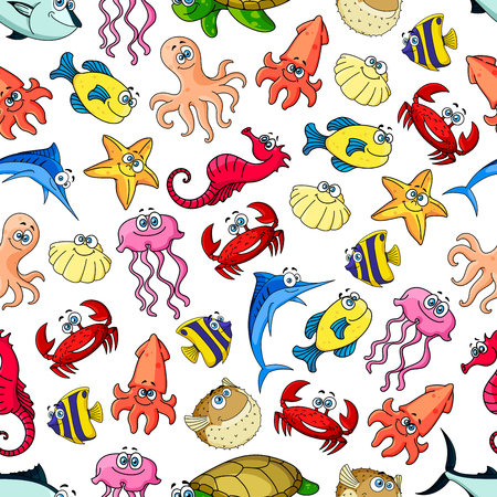 underwater fishes: Cute sea and ocean cartoon animals and fishes. Seamless pattern background with underwater funny characters. Kids vector wallpaper decoration Illustration