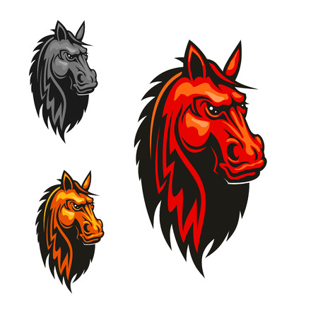 emblem red: Horse stallion head heraldic emblem. Red, yellow, gray horses with mane. Vector icons for sport club emblem, team shield, badge, label, tattoo
