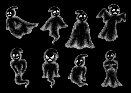 Halloween funny ghosts chalk icons. Cute cartoon spooks on blackboard. Artistic chalked bogey characters