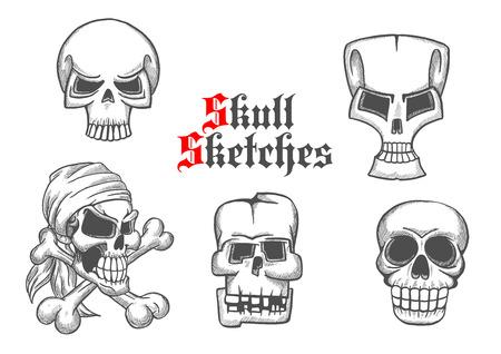 cranium: Skeleton skulls pencil sketch icons. Abstract shapes of cranium and crossbones for halloween cartoon, label, tattoo, t-shirt, placard, decoration, poster