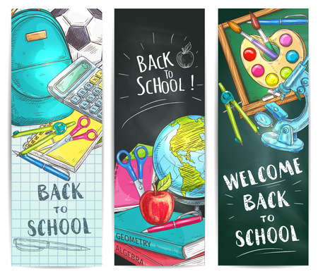 copybook: Back to School welcome banners. Backpack, rucksack, ball, pen, calculator, pencil, copybook, squared paper sheet, scissors, globe, apple, compass, chalk blackboard watercolor microscope School supplies and stationery vector doodle sketch elements Illustration