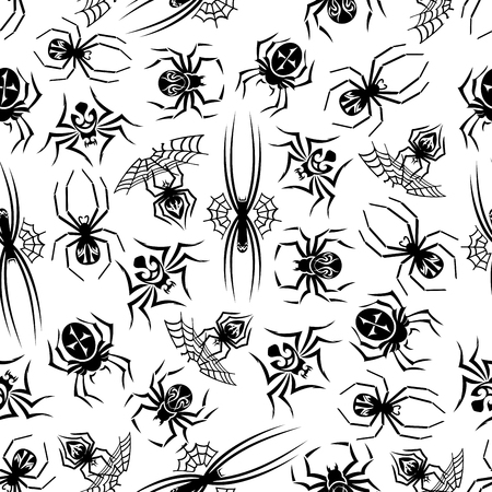 tarantula: Black spiders seamless background. Wallpaper with vector pattern icons of tarantula, spider web. Halloween decoration