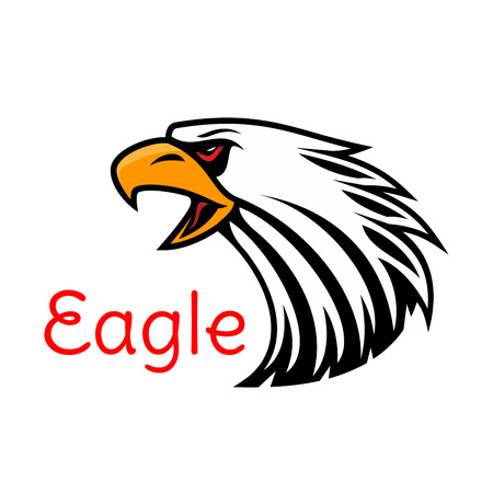 Bald Eagle head vector emblem. Crying hawk label for team mascot shield, icon, badge, label and tattoo. Falcon symbol for scout, sport, guard, club identity icon Illustration
