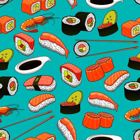 魚介類、寿司のベクトル パターンのアイコンとシームレスな背景ロール、マキ、エビ、箸、わさび。日本のアジア料理、オリエンタル キッチン、レ