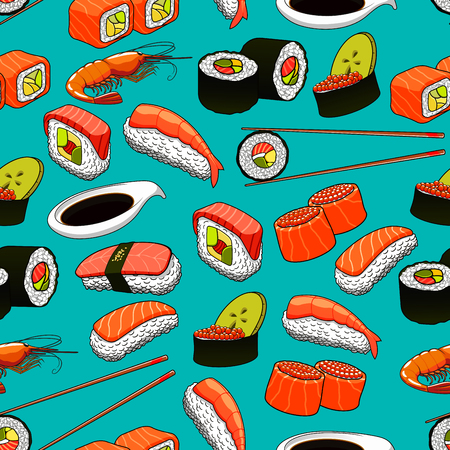 prawn: Seafood seamless background with vector pattern icons of sushi, rolls, maki, prawn, chopsticks, wasabi. Japanese asian cuisine and oriental kitchen, restaurant wallpaper Illustration