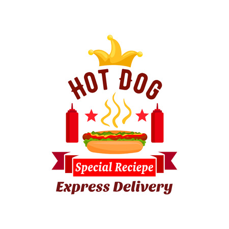 hot dog label: Fast food xpress delivery emblem. hot dog label element with ketchup bottles, golden crown, stars, red ribbon. Vector icon for restaurant, eatery, menu, signboard, poster Illustration
