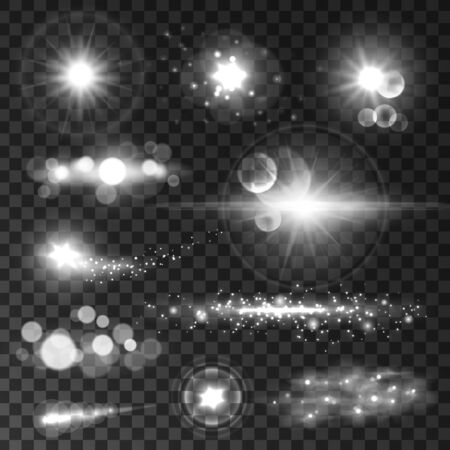 light beams: Glowing light flashes set. Sparkling stars and sun beams with lens flare effect on transparent background. Vector shining elements