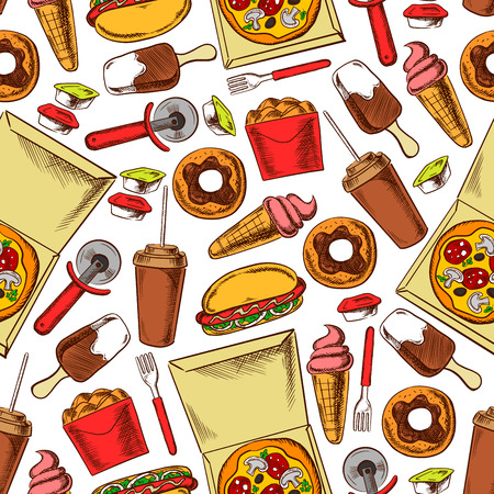 chicken wings: Fast food snacks, drinks and desserts. Seamless pattern background. Wallpaper with color sketch icons of hot dog, pizza, ice cream, donut, coffee, chicken wings and legs basket Illustration