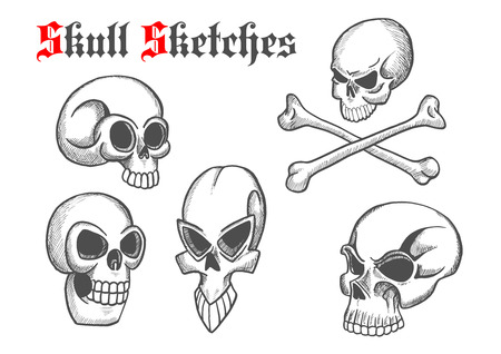 cranium: Halloween skulls sketch isolated icons. Artistic abstract shapes of cranium and crossbones for cartoon, label, tattoo, t-shirt print poster, decoration